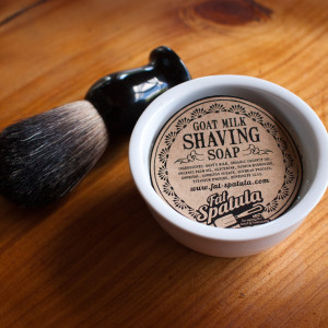 FAT SPATULA GOATS MILK SHAVING SOAP & DISH